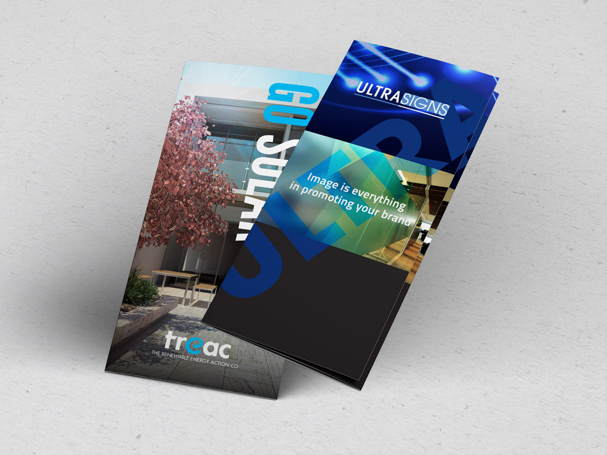 Two folded DL brochure designs